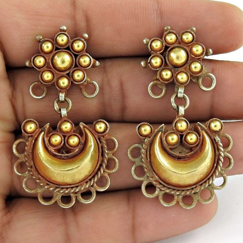 Handmade Gold Plated 925 Sterling Silver Traditional Earrings Jewellery
