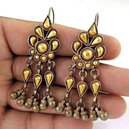 Beautiful Gold Plated 925 Sterling Silver Ethnic Earrings Jewellery