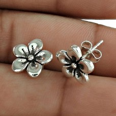 Lady Elegance Solid 925 Sterling Silver Flower Earring