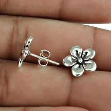 Original Solid 925 Sterling Silver Flower Earring
