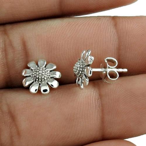 Festive Solid 925 Sterling Silver Flower Earring