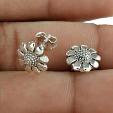 Elegant Solid 925 Sterling Silver Flower Earring