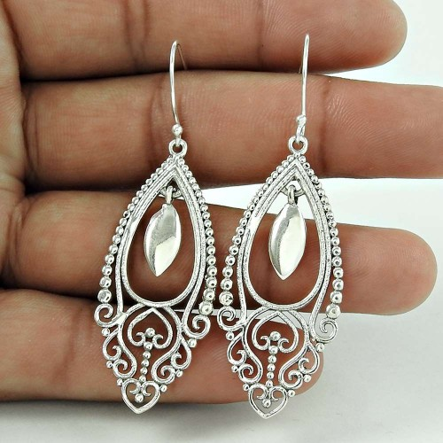 Lovely Indian Sterling Silver Earring Jewellery De gros