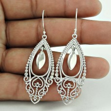 Lustrous 925 Sterling Silver Fashion Earring Ethnic Jewellery