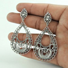 Designer 925 Sterling Silver Indian Traditional Earring Jewellery