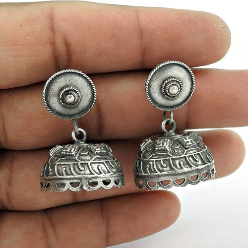 Designer Oxidized Sterling Silver Jhumki Earring Traditional Jewelry