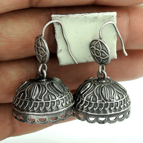 Good-Looking Oxidized Sterling Silver Jhumki Earring Antique Jewelry