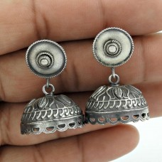 Sightly Oxidized Sterling Silver Jhumki Earring Vintage Jewelry