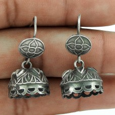 Daily Wear Oxidized Sterling Silver Jhumki Earring Jewelry