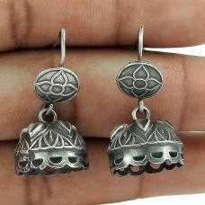 Daily Wear Oxidized Sterling Silver Jhumki Earring Jewelry