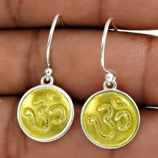 Gold Plated 925 Sterling Silver OM Earring Indian Jewelry