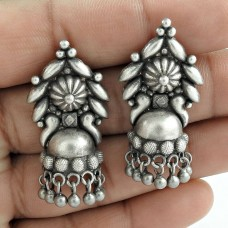 Oxidized Sterling Silver Antique Jhumki Handmade Earring Wholesale Jewelry