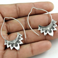 Sightly Solid 925 Sterling Silver Earring Vintage Jewelry
