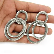 Oxidized 925 Sterling Silver Earring Tribal Jewelry H9