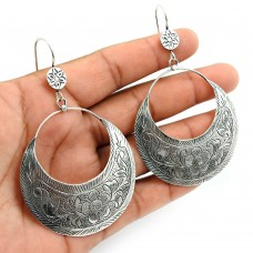 Solid 925 Sterling Silver Earring Indian Handmade Jewelry A29