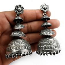 925 Sterling Silver HANDMADE Jewelry Oxidized Jhumka Earrings T9