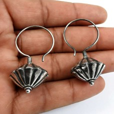 HANDMADE Indian Jewelry 925 Solid Sterling Silver Oxidized Earrings C10