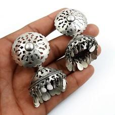 HANDMADE Indian Jewelry 925 Solid Sterling Silver Oxidized Jhumka Earrings U9