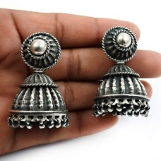 Oxidized Jhumka Earrings 925 Solid Sterling Silver HANDMADE Indian Jewelry W9