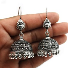 HANDMADE Indian Jewelry 925 Solid Sterling Silver Oxidized Jhumka Earrings X9