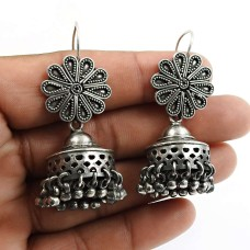 Indian HANDMADE Jewelry 925 Solid Sterling Silver Oxidized Jhumka Earrings Y9