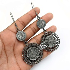 HANDMADE 925 Solid Sterling Silver Jewelry Oxidized Victoria Coin Earrings Z9