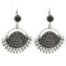 Oxidized Artisan Earrings 925 Solid Sterling Silver HANDMADE Indian Jewelry A10