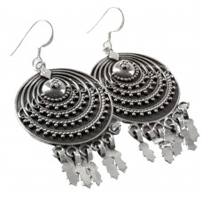 Rava Work 925 Sterling Silver Oxidised Jewellery Beautiful Silver Earrings Fournisseur