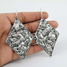 925 Sterling Silver Oxidised Jewellery Beautiful Silver Earrings Exporter India