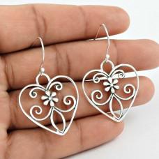 925 Sterling Silver Jewellery Beautiful Silver Heart Earrings Fournisseur