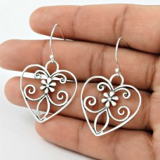 Sterling Silver Fashion Jewellery High Polish Silver Heart Earrings Lieferant
