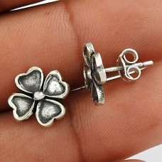 925 Sterling Silver Oxidised Jewellery Trendy Silver Flower Earrings De gros