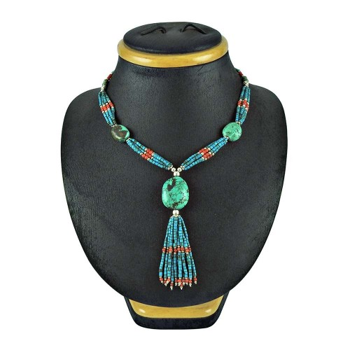 925 Sterling Silver Indian Jewellery Beautiful Coral, Turquoise Beaded Necklace Al por mayor