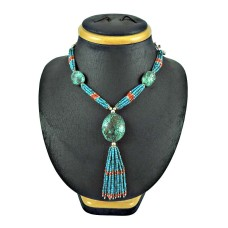 925 Sterling Silver Fashion Jewellery Charming Coral, Turquoise Beaded Necklace