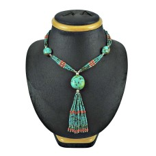 925 Silver Jewellery Beautiful Coral, Turquoise Beaded Necklace