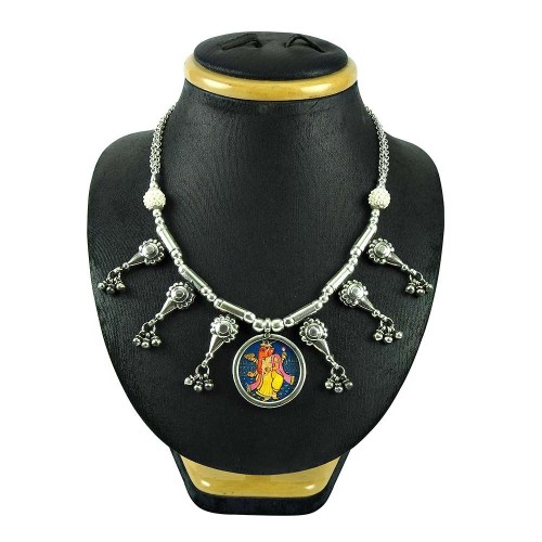 925 Sterling Silver Jewellery Trendy Pearl and Inlay Ganesha Picture Necklace