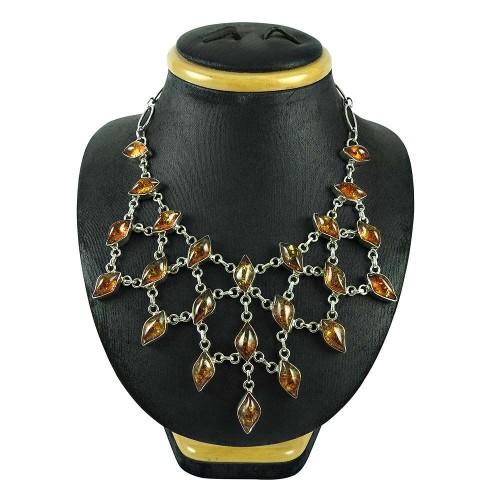 925 Sterling Silver Vintage Jewellery Charming Real Amber Gemstone Necklace