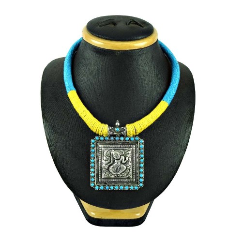 Oxidised Sterling Silver Antique Jewellery Fashion Turquoise Gemstone Thread Necklace