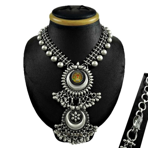 Oxidised antique look Glass Painting 925 sterling silver necklace