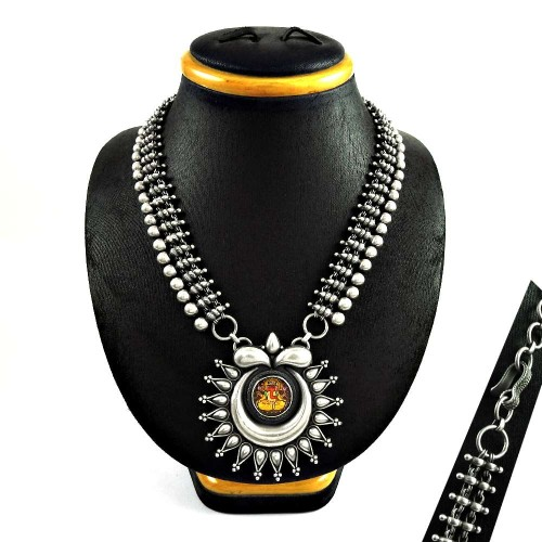 Antique look Glass Painting oxidised 925 sterling silver necklace