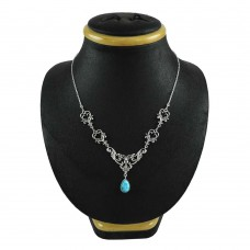 Stylish 925 Sterling Silver Turquoise Gemstone Boho Necklace Jewelry
