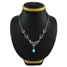 925 Sterling Silver Turquoise Gemstone Necklace Bohemian Jewelry