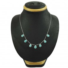 Beautiful 925 Sterling Silver Turquoise Gemstone Necklace Handmade Jewelry C25