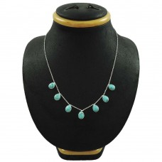 Lustrous 925 Sterling Silver Turquoise Gemstone Necklace Ethnic Jewelry C31