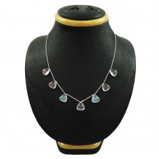 Engaging 925 Sterling Silver Rose Quartz, Chalcedony Gemstone Necklace Handmade Jewelry C38