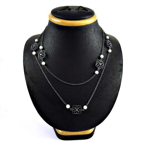 Pretty 925 Sterling Silver Pearl CZ Gemstone Necklace Jewelry