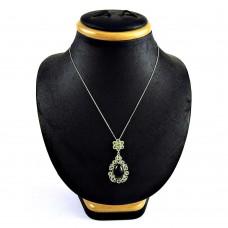 Lovely 925 Sterling Silver Peridot Black Onyx Gemstone Necklace Vintage Jewelry