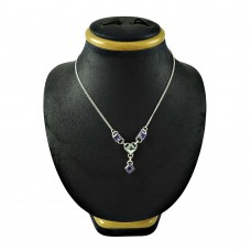 Rattling 925 Sterling Silver Amethyst Crystal Gemstone Necklace Jewellery