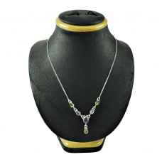 Scrumptious 925 Sterling Silver Peridot Blue Topaz Amethyst Citrine Gemstone Necklace Jewellery