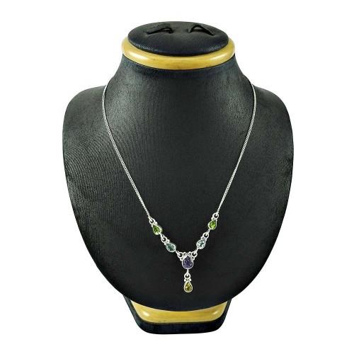Scrumptious 925 Sterling Silver Peridot Blue Topaz Amethyst Citrine Gemstone Necklace Jewellery